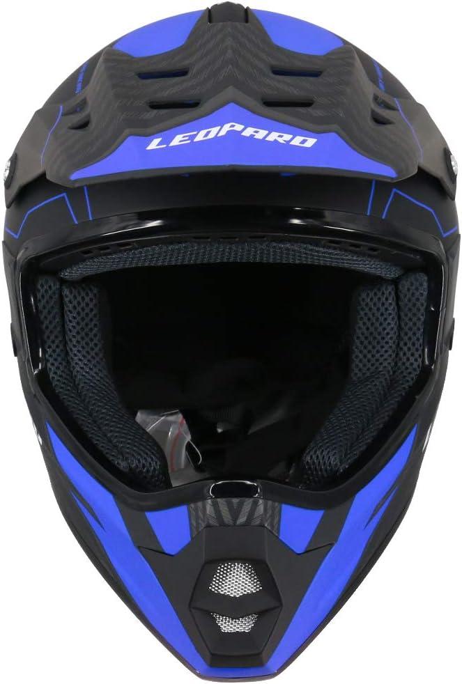 Leopard LEOX307 Casque de Moto Cross Int/égral ECER Homologu/é Homme Femme Noir Mat XXL 12cm 63-64cm + Gants /& Lunettes De Motocross