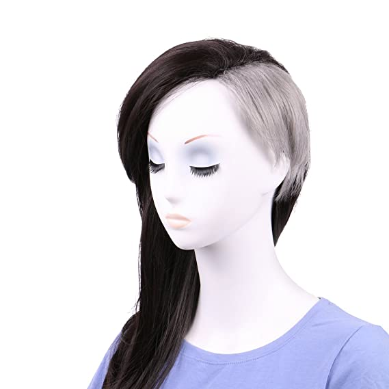 Queentas Tokyo Ghoul - Peluca de pelo teñido con 2 tonos de color gris medio y medio natural: Amazon.es: Belleza