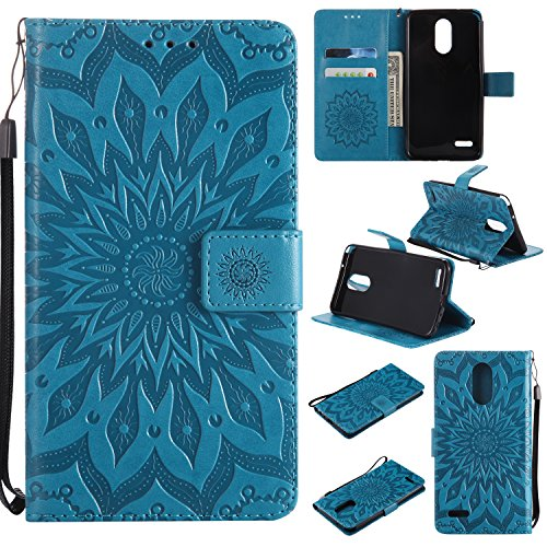 Price comparison product image LG Stylo 3 Wallet Case, LG Stylus 3 Case, Urberry Embossed PU Leather Magnetic Flip Cover Card Holders & Hand Strap Wallet Purse Case for LG Stylo 3 Plus LS777 (Blue)