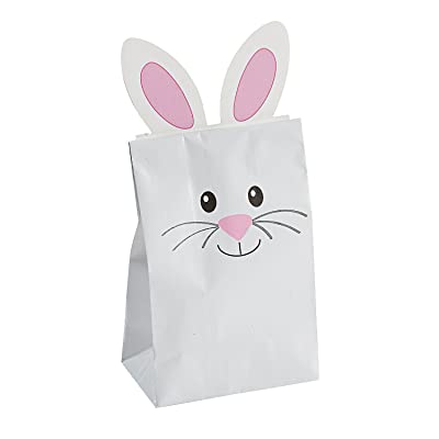 Fun Express Easter Bunny Paper Treat Bag for Easter (12 Pieces) Party Supplies, Favor Bags: Toys & Games