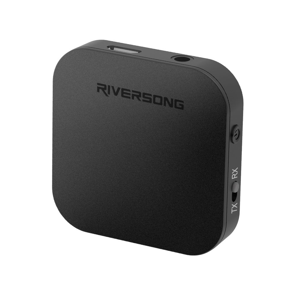 RIVERSONG Bluetooth Transmitter Receiver, 3.5mm Jack Mini Bluetooth Transmitter 2-in-1 Wireless Audio Adapter with Hi Fi Sound Stereo for for TV Home and Car- aptX Low Latency by RIVERSONG