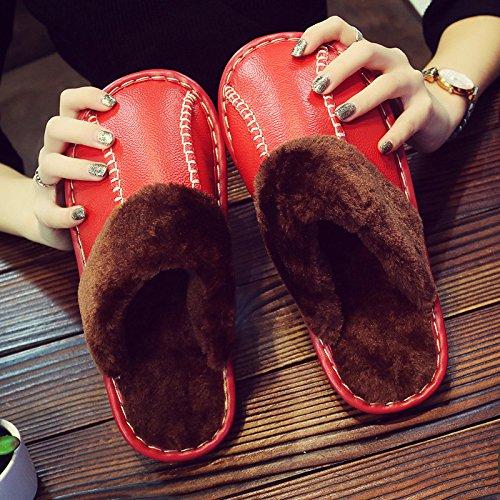 CWAIXXZZ pantofole morbide Paio di pantofole di cotone femmina spessa invernale caldo inverno piscina anti-slip impermeabile elegante pelle pantofole uomini e soggiorno ,27cm (39-40 metri), Rosso