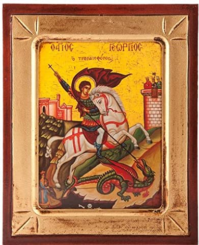 Wood Religious Icon. St George Icon. Greek Icon. Patron Saint