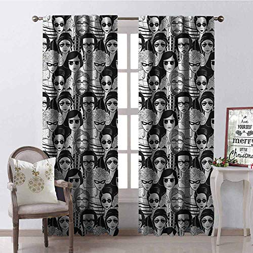Gloria Johnson Doodle Wear-Resistant Color Curtain Crowded Street Sunglasses on Everybody Aviators Urban Life Modern Artwork Print Waterproof Fabric W52 x L72 Inch Black ()
