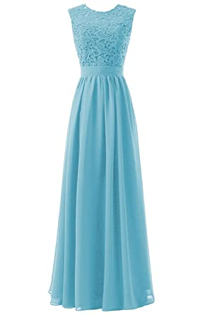 Lafee Bridal Womens Lace Bridesmaid Dresses Sleevless Long Chiffon Prom Dress Aqua Size 2