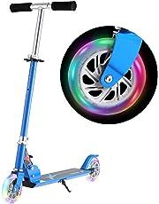 WeSkate Kinderroller Verstellbare Kinderscooter Tretroller Cityroller mit 2 Leuchträder, Klappbar Tragbar Roller Scooter aus Aluminiumlegierung für Kinder Jüngere Mädchen ab 3-12 Jahre bis 80KG