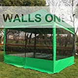 ABCCANOPY Silver Coated Screen Wall Mesh Screen House Zippered Wall Panels for 10' x 10' Canopy(Kelly Green)