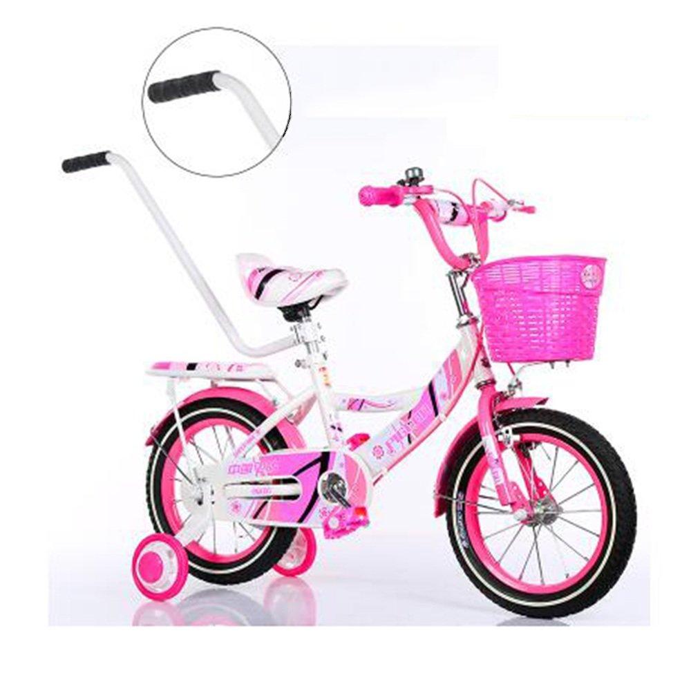 HAIZHEN マウンテンバイク バスケット付きガールズバイク、トレーニングホイール付き12,14,16,18インチのガールズバイク、子供用のギフト、女の子の自転車 新生児 B07C432P5J 16 inches|ピンク ぴんく ピンク ぴんく 16 inches