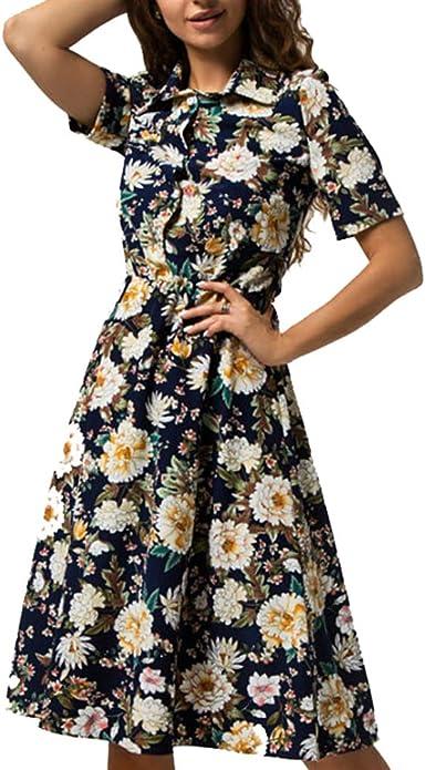 XIGUAK Vestido De Camisa con Estampado De Flores De Mujer ...