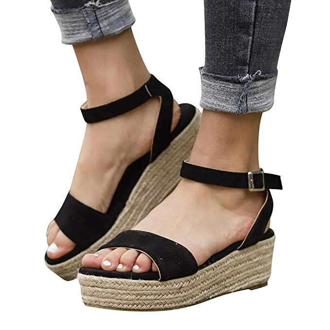 4b3078d04688f Creazrise Womens Summer Flat Lace Up Espadrilles Shoes Ladies Chunky  Holiday Peep-Toe Sandals Beige