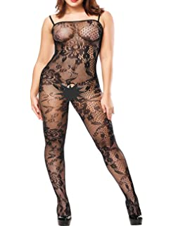 9b1863975ea YOGINGO Womens Lace Bodystockings Strappy Fishnet Bodysuit Crotchless  Lingerie
