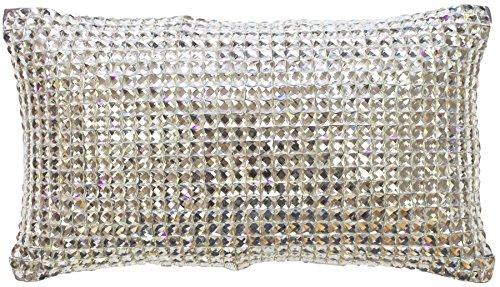 KYLIE MINOGUE SQUARE DIAMOND SILVER DIAMANTE SATIN 18X32CM FILLED CUSHION ()