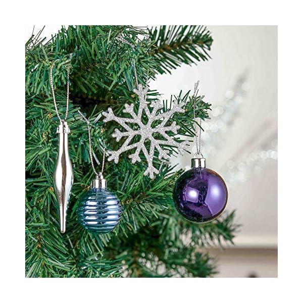Valery Madelyn Palle di Natale 52 Pezzi di Palline di Natale, 3-5 cm Auguri Invernali Argento e Blu Infrangibili Ornamenti Palla di Natale Decorazione per la Decorazione Dell'Albero di Natale 4 spesavip