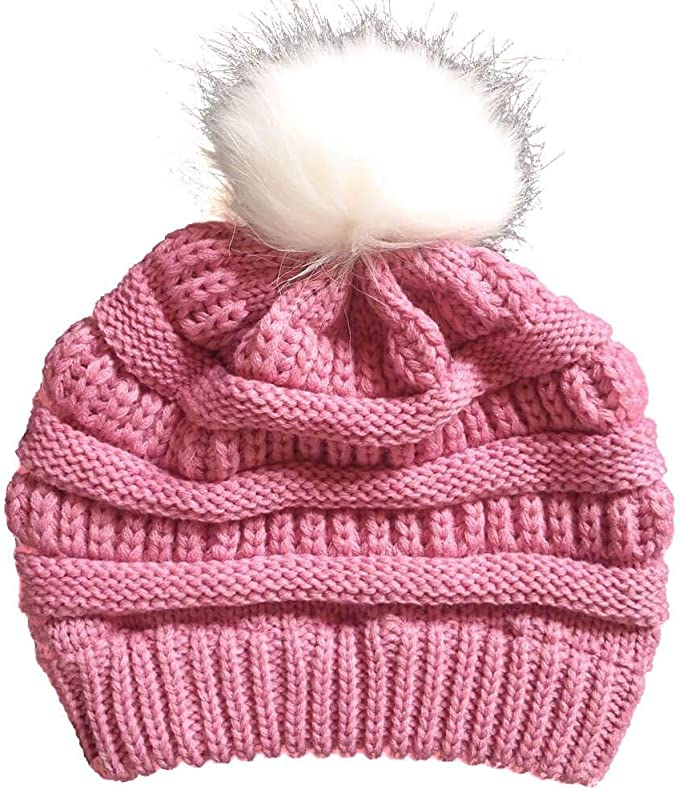 AS ROSE RICH Kids Pom Pom Beanies Caps 7-16 Boys Girls Winter Warm Knit Hats for Canada Market Pink