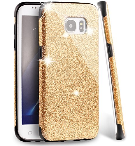 MEKO Glitter Bling Rubber Shock Absorbing and Scratch Resistant Bumper Case for Samsung Galaxy S7 Edge, Gold