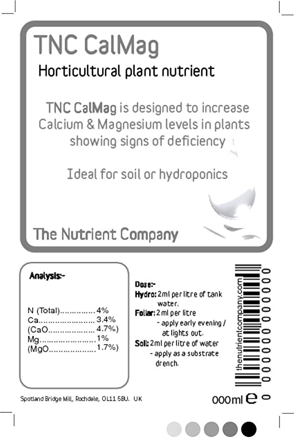 TNC CalMag - El tratamiento de la deficiencia de calcio y magnesio en plantas de hidroponía (500 ml): Amazon.es: Jardín