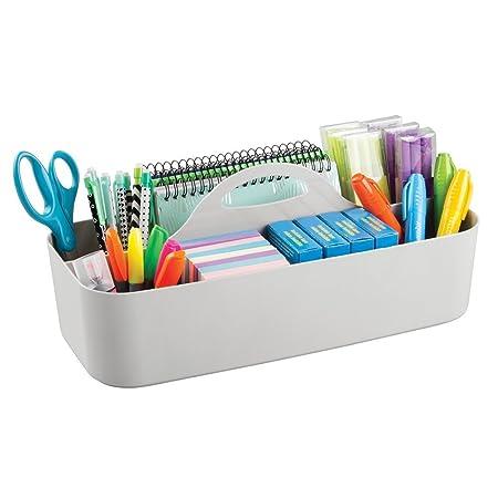 mDesign Organizador de escritorio con 11 compartimentos - Cesta organizadora de plástico - Organizador con asa para el transporte para los utensilios de ...