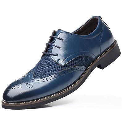 6209dde4716 XIGUAFR Chaussure en Cuir d affaire Commercial Basse Plate pour Homme  Soulier Chaussure au Loisir