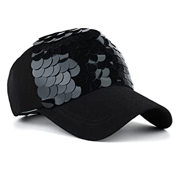 Maticr Unisex Bling Mermaid Scales Sequin Trucker Hats Adjustable Mesh Caps  Baseball Party Hat (All d8ac04b95e26