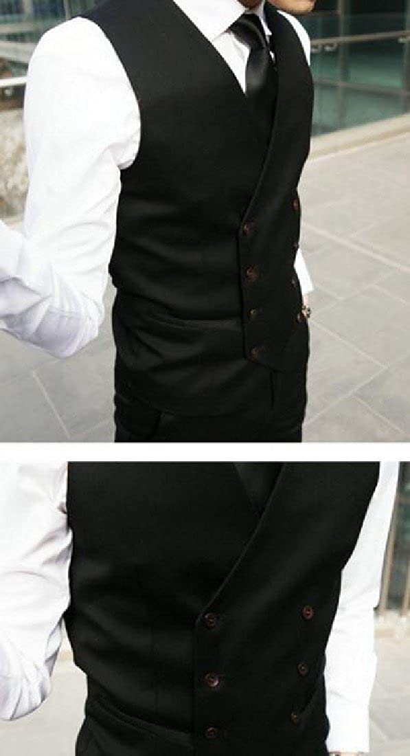 CuteRose Mens Business Premium Double-Breasted Classics Wedding Suit Vest