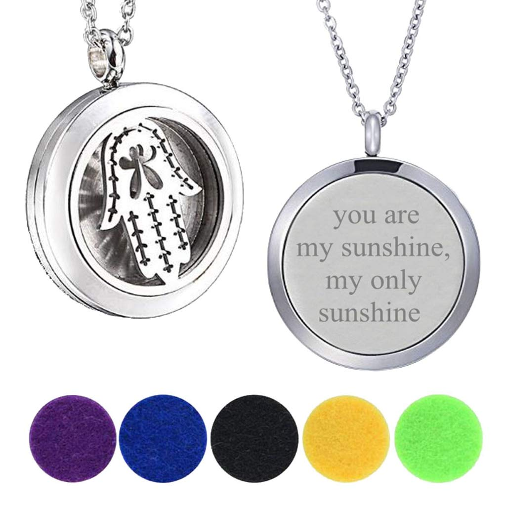 Modogirl 25MM Essential Oil Diffuser Hamsa Hand Pendant Enhancers Necklace Engraved You are My Sunshine by Modogirl