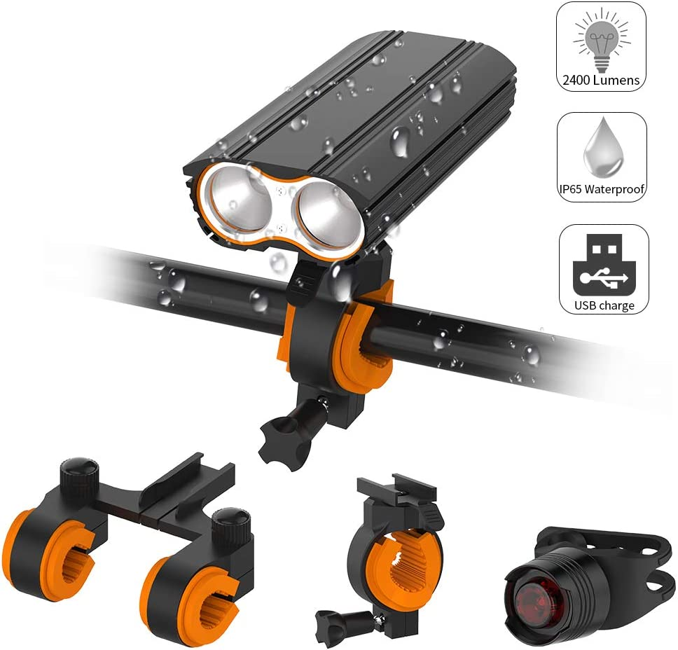 Acsin Bike Light Front and Rear Super Bright, Bicycle Headlight Tail Light Set 2400 Lumen 4 Lighting Modes IP65 Waterproof Rechargeable 18650 Built-in Battery Double Bracket Quick-Release