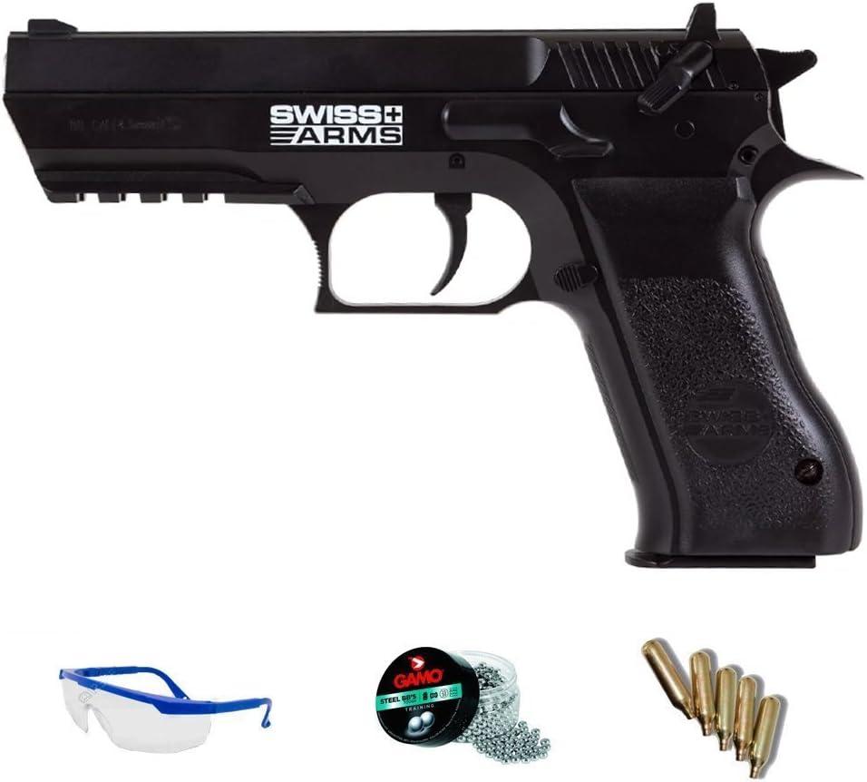 PACK pistola de aire comprimido Swiss Arms 941 - Arma de CO2 y balines BBs (perdigones de acero) <3,5J
