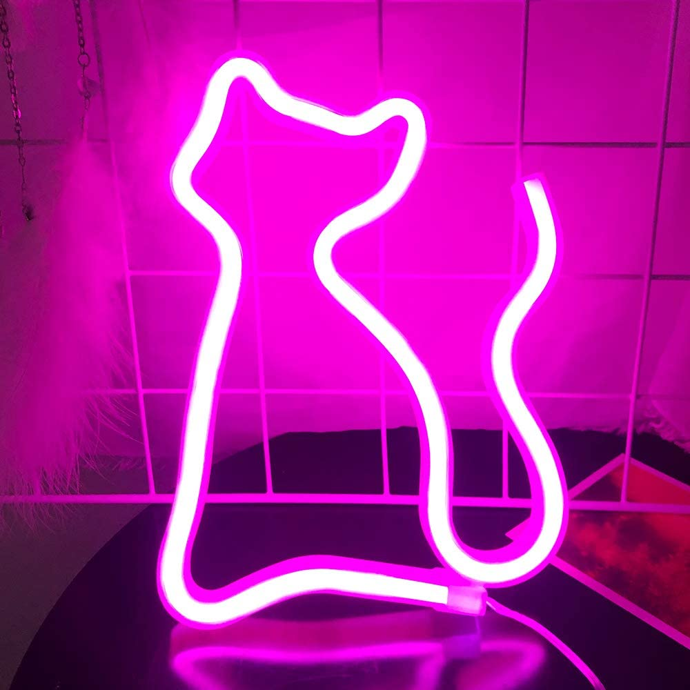 Protecu Cat Neon Sign, LED Signs for Bedroom, Neon Signs for Wall Decor, LED Neon Sign for Girls, Kids, Christmas, New Year, Birthday Party, Wedding Room Decor (Pink)