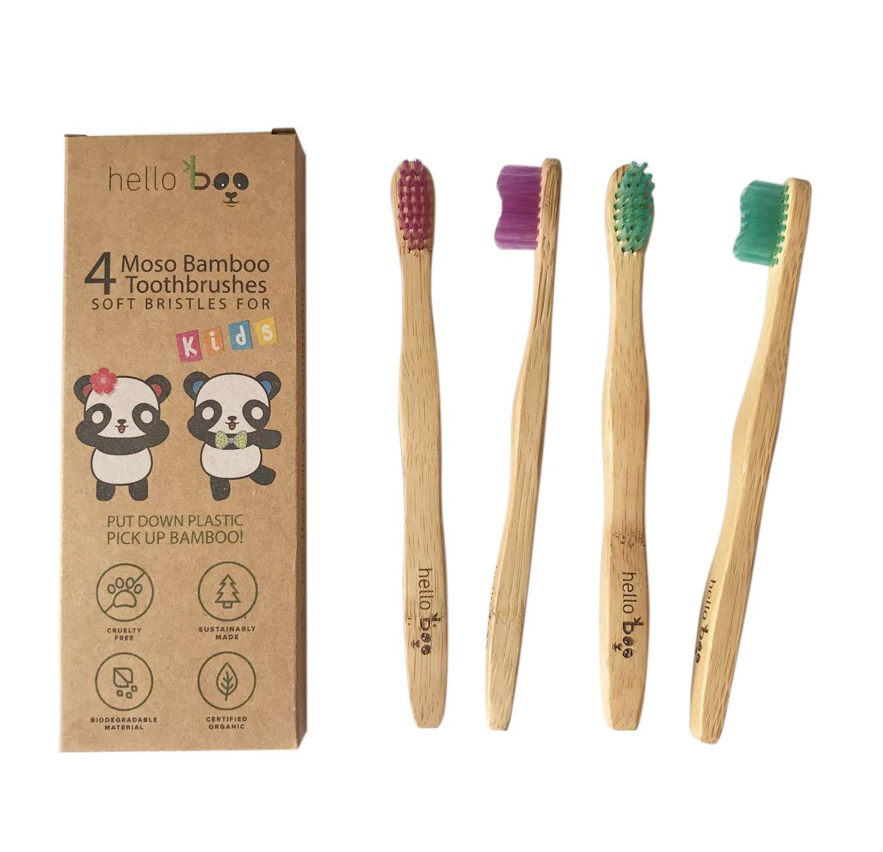 Bamboo Toothbrush for Kids - Pack of 4 Biodegradable Tooth Brush Set - Organic Eco-Friendly Moso Bamboo with Ergonomic Handles & Soft BPA Free Nylon Bristles | By HELLO BOO (Kids)