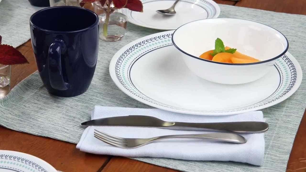 Corelle 16-Piece Vitrelle Glass Folk Stitch Chip and Break Resistant Dinner Set, Service for 4, Blue World Kitchen 3243
