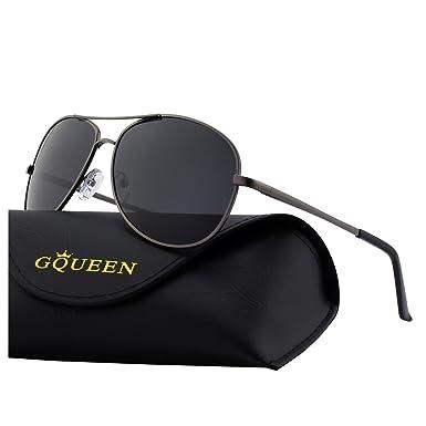 GQUEEN Premium Federscharnieren Al-Mg Pilotenbrille Polarisierte Sonnenbrille MOS1 xN2opJ