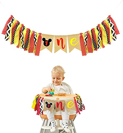 Mickey Mouse Kids First Birthday Highchair Banner Mickey Mouse 6st Birthday  Decorations Kit Mickey Party Decorations Supplies