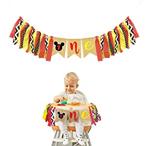 Mickey Mouse Kids First Birthday Highchair Banner Mickey Mouse 1st Birthday Decorations Kit Mickey Party Decorations Supplies