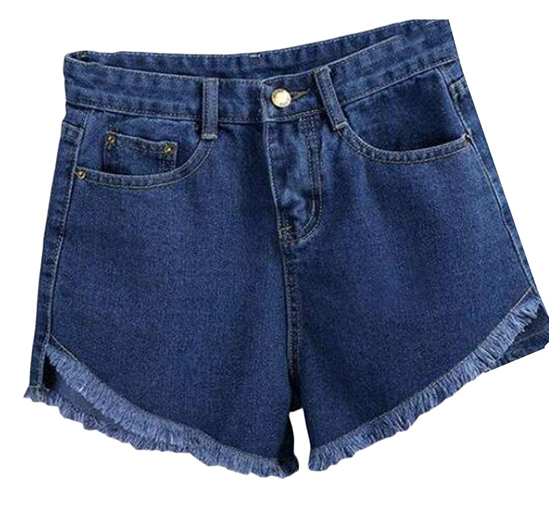 Domple Womens Washed Summer Casual High Rise Cutoff Denim Shorts Jeans Shorts