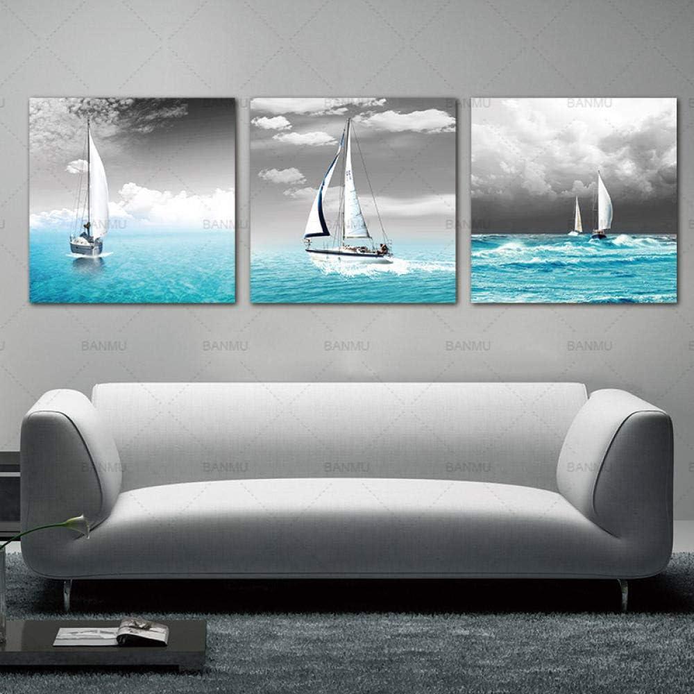 HGNFD Cuadro en Lienzo Arte de Pared Decoraciones para el hogar-Velero Vela en Mar Azul-50x50cmx3 Piezas sin Marco