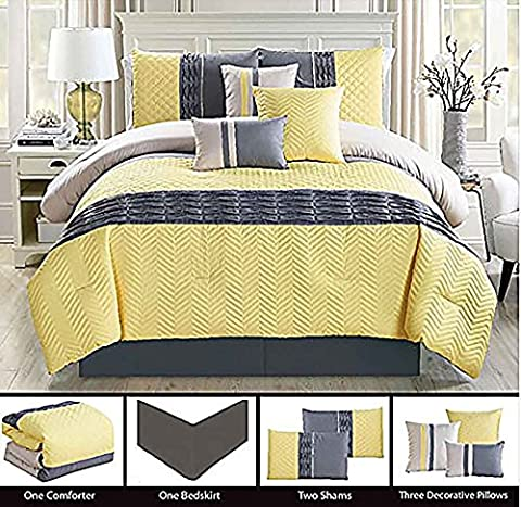 LA Rug Linens White Yellow Gray Color Queen Size Zig-Zag Pattern 7 Pieces Comforter Set with Bed Skirt Pillow Shams Decorative Pillows