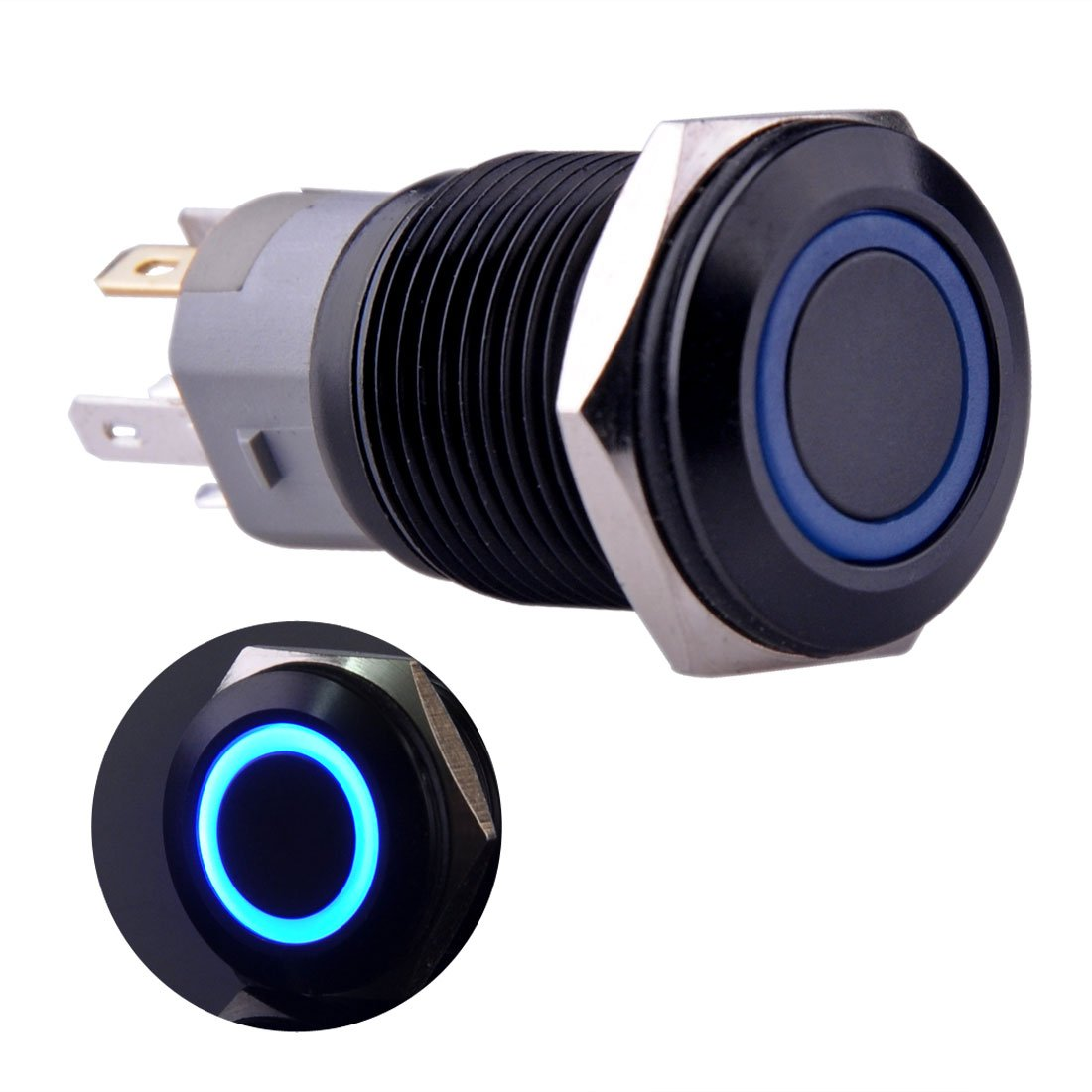 Ulincos Momentary Push Button Switch U16f1 1no1nc Black Metal Shell Pushbuttons And Latching On Off In Blue White With Led Ring Suitable For