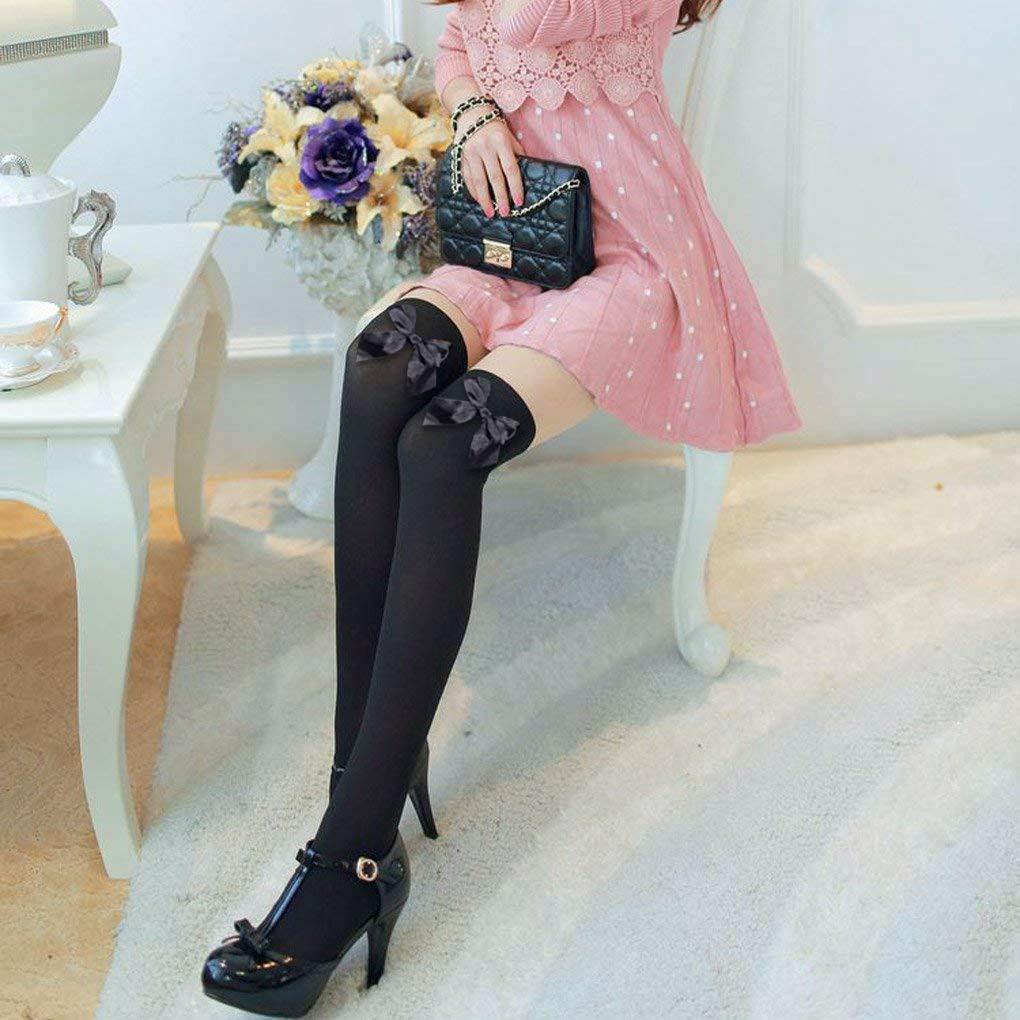 PROACC 2 paia di calze autoreggenti da donna calze autoreggenti con fiocchetto bianche e nero