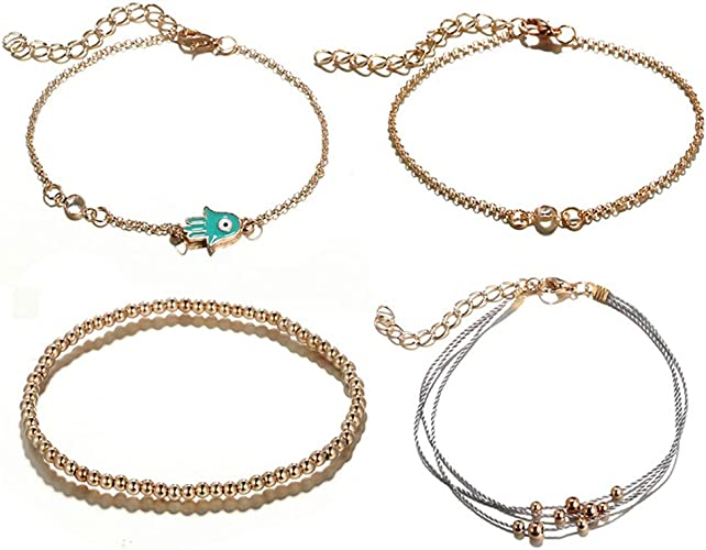 Women Alloy Elephant Double-layer Chain Beaded Anklet Gold Crystal Cute Bracelet