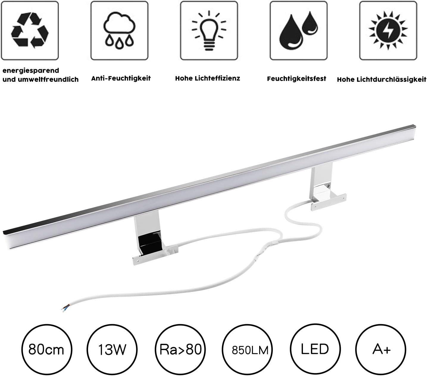 6W LED Miroir de Lumi/ère 400lm Energy Class A + Blanc Chaud 40cm Chrome 3000K Lampe de Salle de Bains Applique Murale Applique Murale CRI 80 40x2835SMDs
