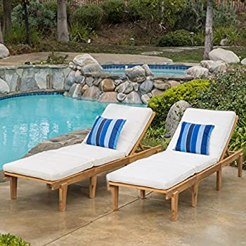 (Set of 2) Paolo Outdoor Teak Brown Wood Chaise Lounge with Cushion : chaise lounger chair - Sectionals, Sofas & Couches