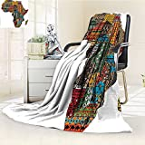 Throw Blanket Africa Map with Countries Made of Feature Warm Microfiber All Season Blanket for Bed or Couch