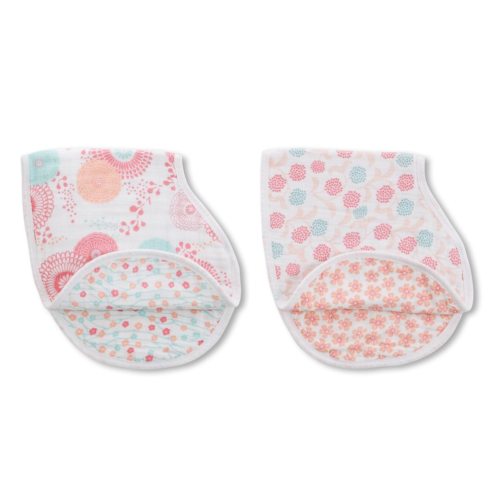 "aden + anais Classic Burpy Bib, Tea Collection, 100% Cotton Muslin, Soft Absorbent 4 Layers, Multi-Use Burp Cloth and Bib, 22.5"" X 11"", 2 Pack, Global Garden"