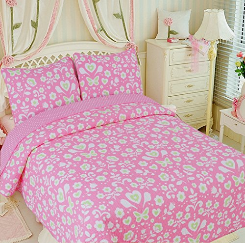 Cozy Line Home Fashions Goodnight Sweety Heart Quilt Bedding Set, Butterfly Flower Pink Green Printed 100% COTTON Reversible Coverlet Bedspread, Gifts for Kids, Little Girl (Butterfly, Twin - 2 piece) (2 Piece Printed Hearts)