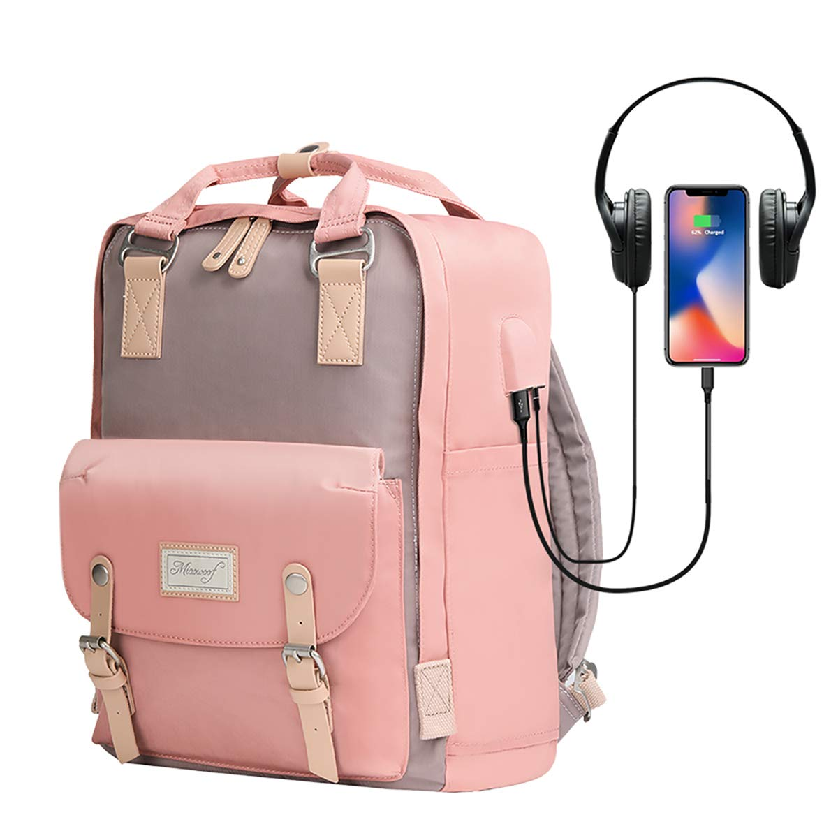 Cute Mommy Backpack Diaper Bag – Small Convertible Backpack Purse Bookbag with Top-Handle for Girls Women,Water-Resistant 14 inch Laptop Backpack with USB Charging Port Headphone Jack