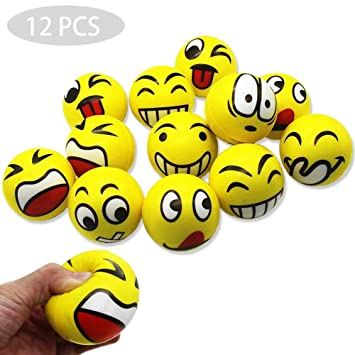 REYOK 12 Pcs Pelota Anti-Estrés Emoji Bola Antiestrés De La ...