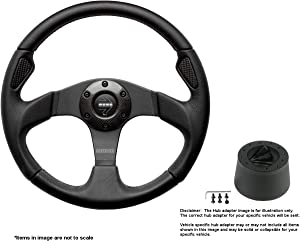 MOMO Jet 350mm (13.78 Inches) Leather Steering Wheel w/Brushed Black Anodized Spokes and Crowder's Hub Adapter for Alfa Romeo Spider Part # JET35BK0B + 513