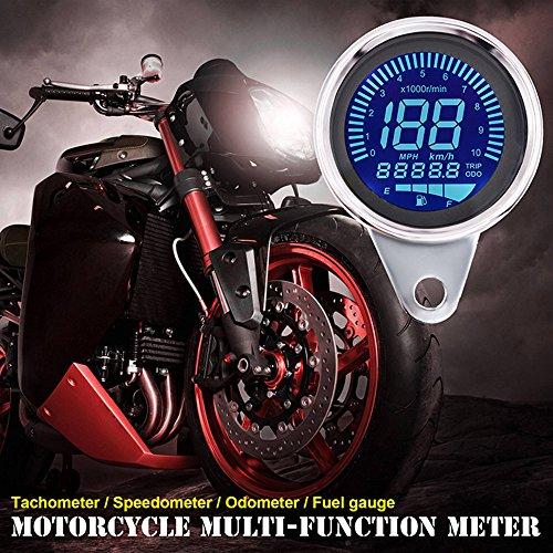 Digital Speedometer for Motorbike, TechCode LED Digital LCD Odometer 12V Universal Motorcycle LED LCD Tachometer Speedometer Multifunctional Modification Speedometer Instrumentation Aluminum Alloy Set by TechCode (Image #8)
