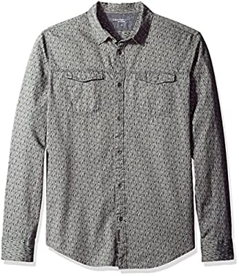 Calvin Klein Jeans Men's Long Sleeve Geo Print Herringbone Button Down Shirt