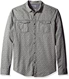 Image of Calvin Klein Jeans Men's Long Sleeve Geo Print Herringbone Button Down Shirt, Storm Grey, Large